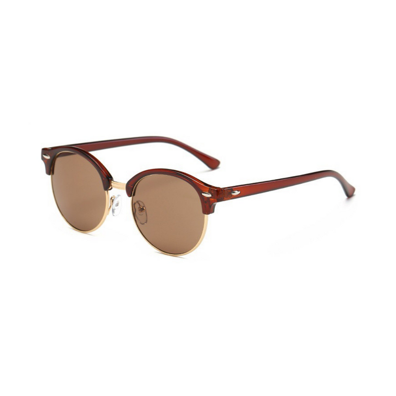 Side view of brown, retro sunglasses, with dark lenses