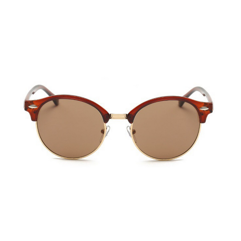 Front view of brown, retro sunglasses, with dark lenses.