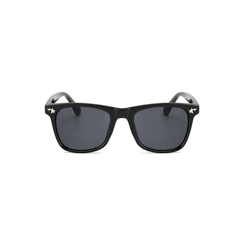 Front view of black, square children's sunglasses, with dark lenses and stars on the lenses.