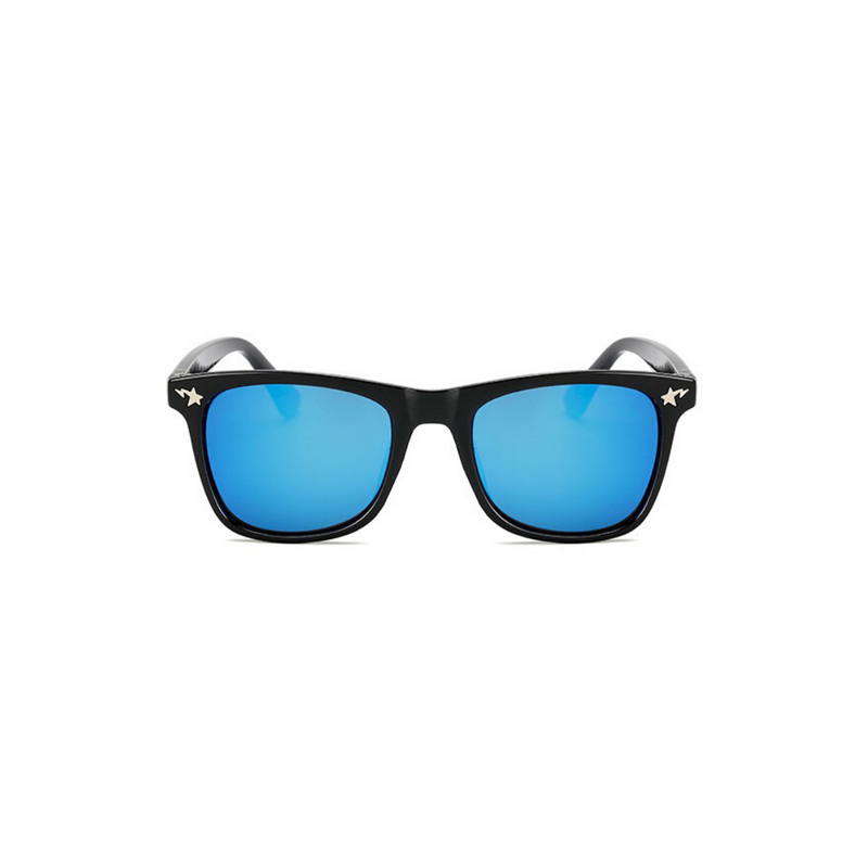Front view of blue, square children's sunglasses, with mirror lenses and stars on the lenses.