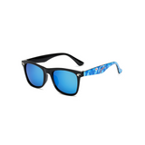 Side view of blue, square children's sunglasses, with mirror lenses and stars on the lenses.