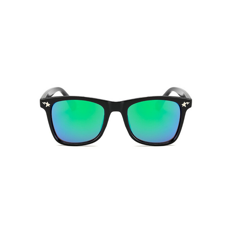 Front view of green, square children's sunglasses, with mirror lenses and stars on the lenses.