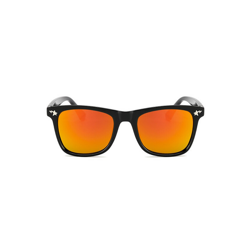 Front view of orange, square children's sunglasses, with mirror lenses and stars on the lenses.