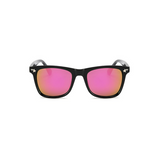 Front view of pink, square children's sunglasses, with mirror lenses and stars on the lenses.