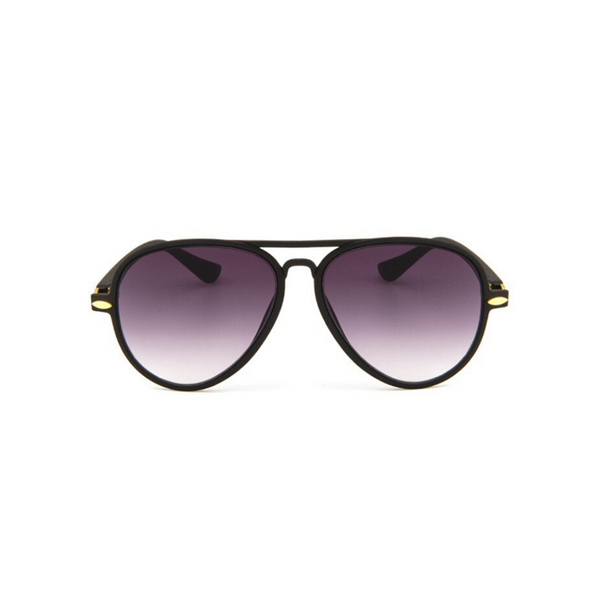 Front view of black, children's aviator sunglasses, with black gradient lenses.