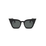 Front view of black matte, super cat eye children's sunglasses, with dark lenses.