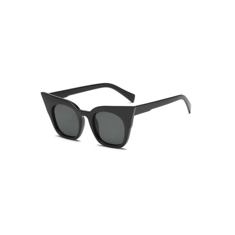 Side view of black matte, super cat eye children's sunglasses, with dark lenses.