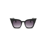 Front view of black shinny, super cat eye children's sunglasses, with black gradient lenses.