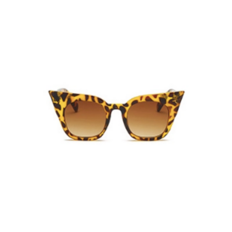 Front view of leopard, super cat eye children's sunglasses, with brown lenses.