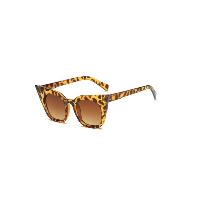 Side view of leopard, super cat eye children's sunglasses, with brown lenses.