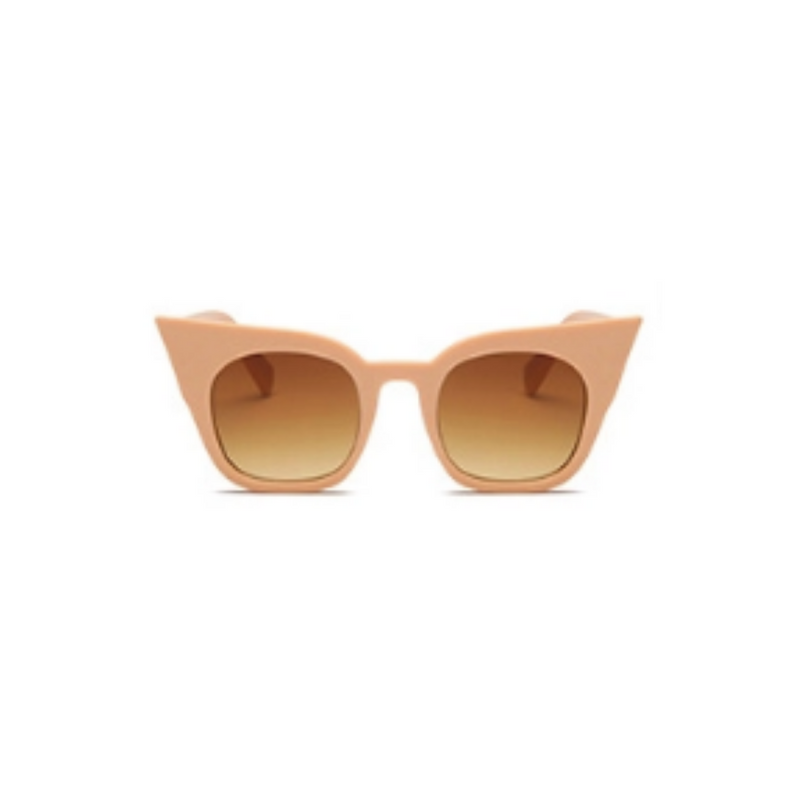 Front view of nude, super cat eye children's sunglasses, with brown lenses.