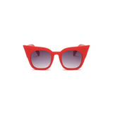 Front view of red, super cat eye children's sunglasses, with black gradient lenses.