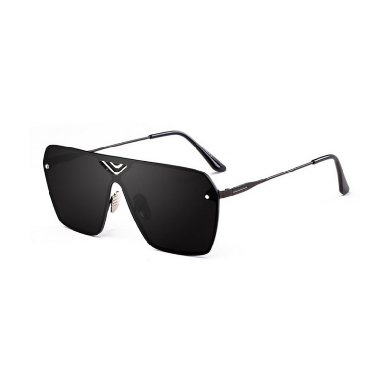 Side view of black, oversized square sunglasses, with black lenses.