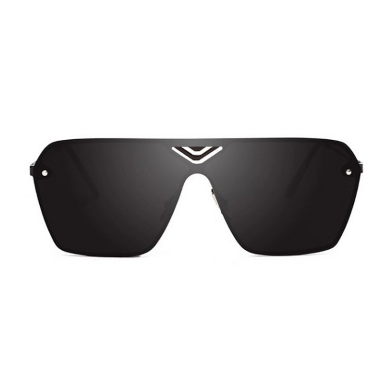 Front view of black, oversized square sunglasses, with black lenses.