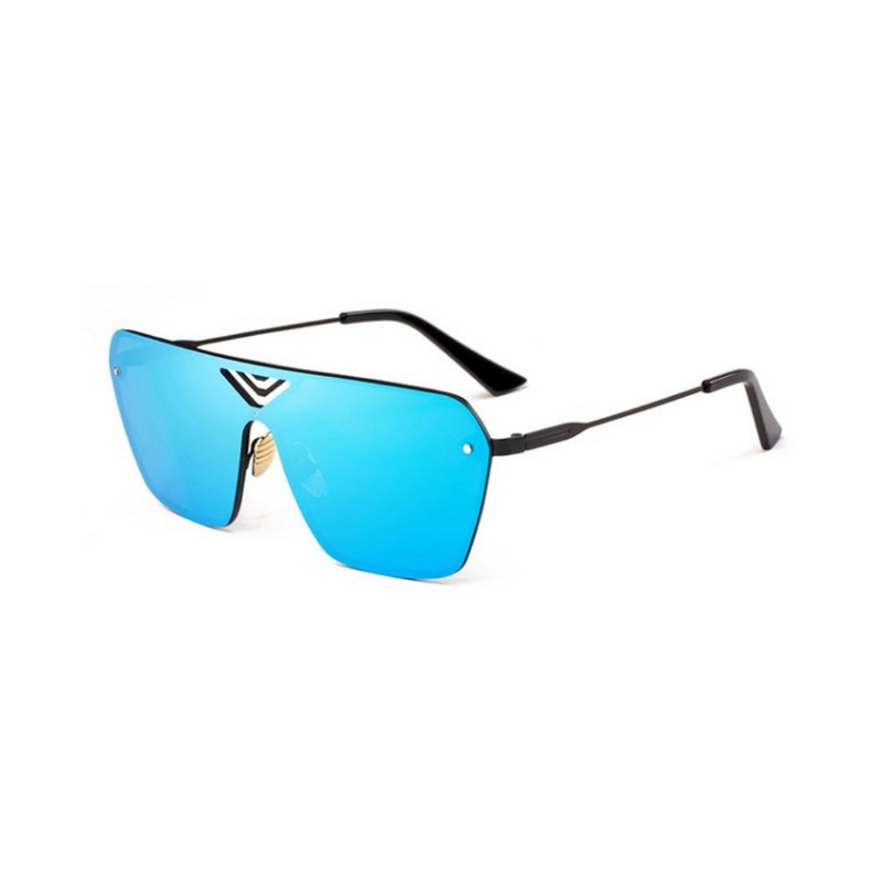 Side view of blue, oversized square sunglasses, with mirror lenses.