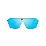 Front view of blue, oversized square sunglasses, with mirror lenses.