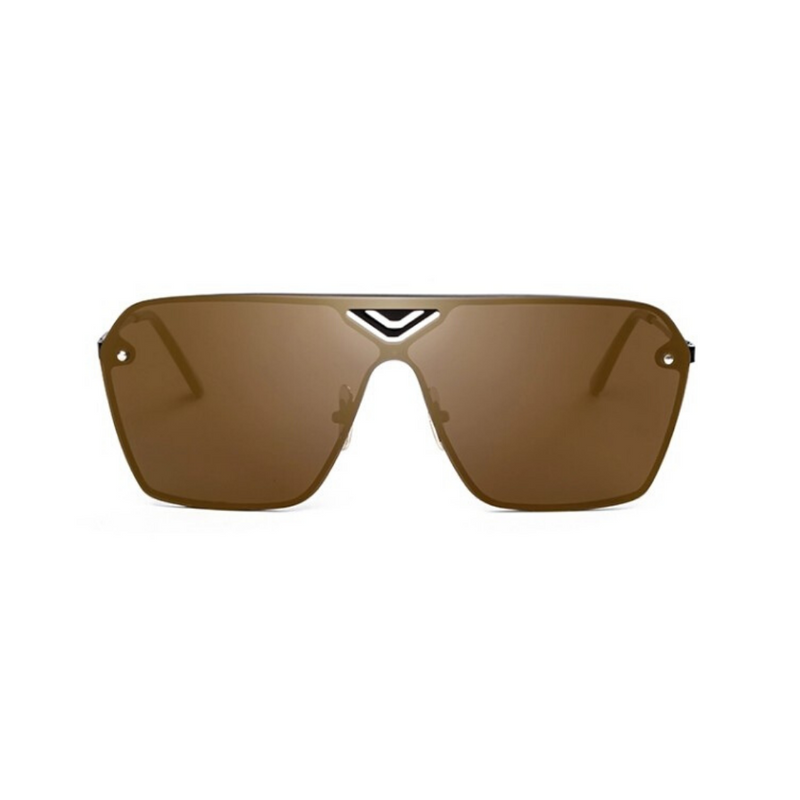 Front view of brown, oversized square sunglasses, with mirror lenses.