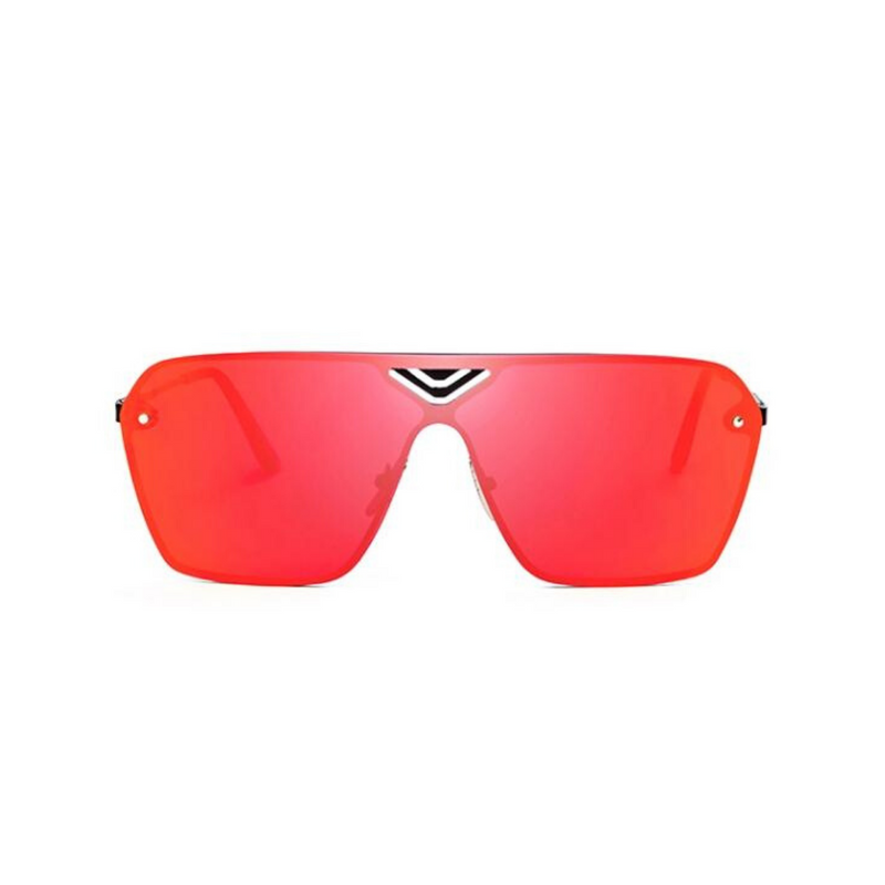 Front view of red, oversized square sunglasses, with mirror lenses.