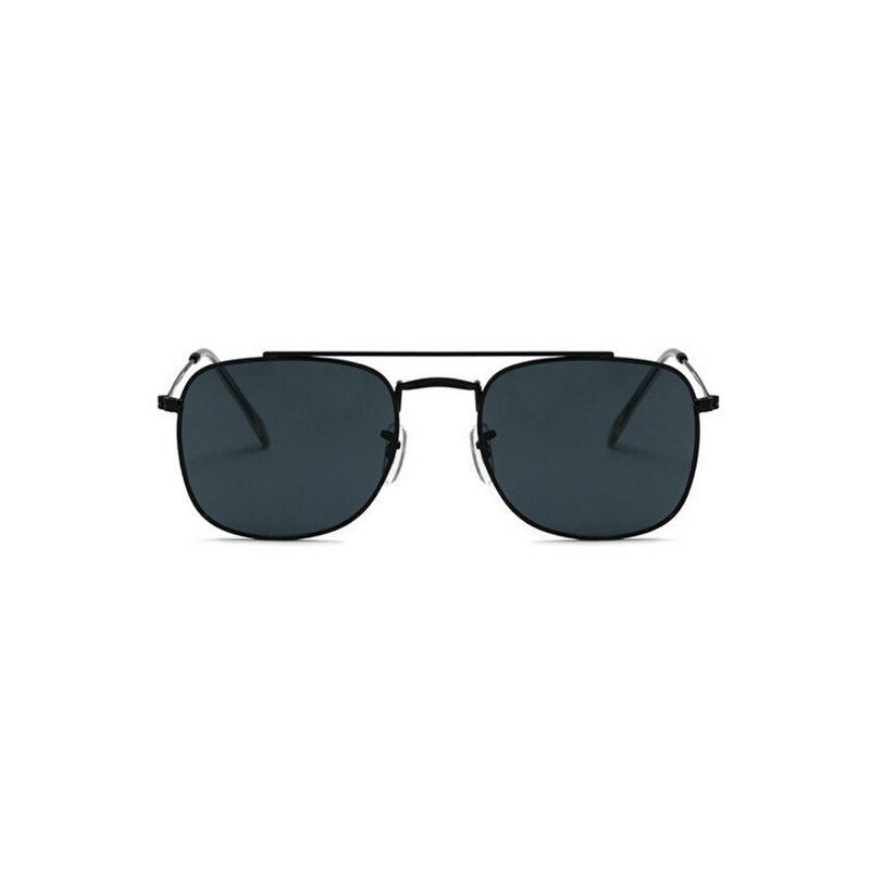 Front view of black, small square sunglasses, with dark lenses.