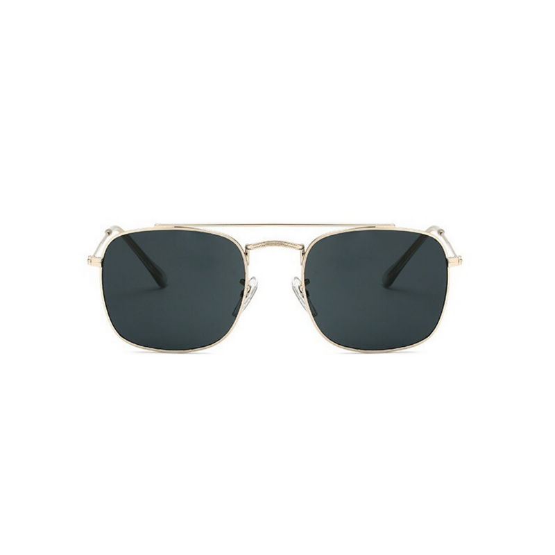 Front view of black and gold, small square sunglasses, with dark lenses.