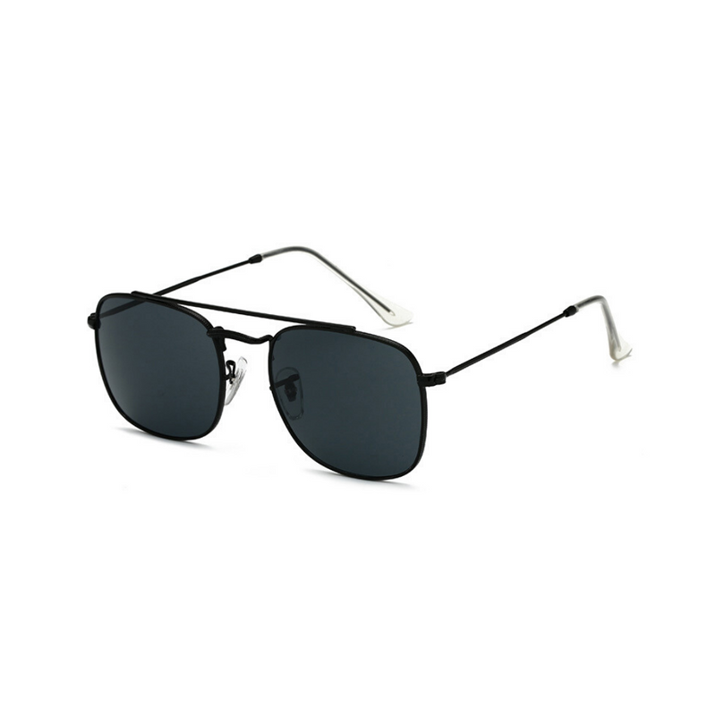 Side view of black, small square sunglasses, with dark lenses.