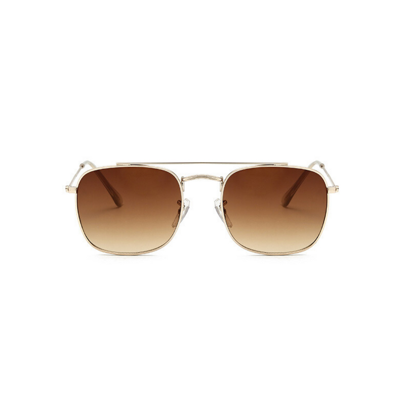 Front view of brown, small square sunglasses, with brown tinted lenses.