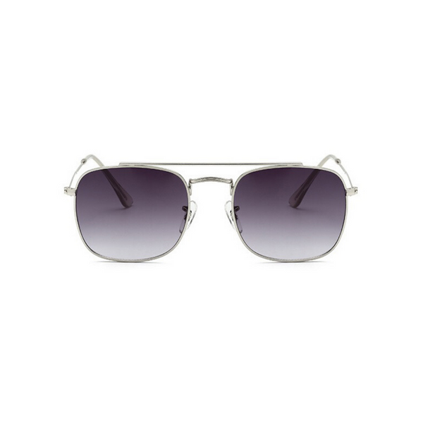 Front view of grey, small square sunglasses, with grey tinted lenses