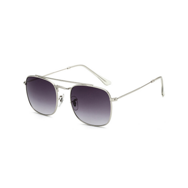 Side view of grey, small square sunglasses, with grey tinted lenses