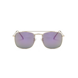 Front view of purple, small square sunglasses, with mirror lenses.