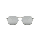 Front view of silver, small square sunglasses, with mirror lenses.