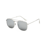 Side view of silver, small square sunglasses, with mirror lenses.