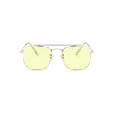 Front view of yellow, small square sunglasses, with tinted lenses.