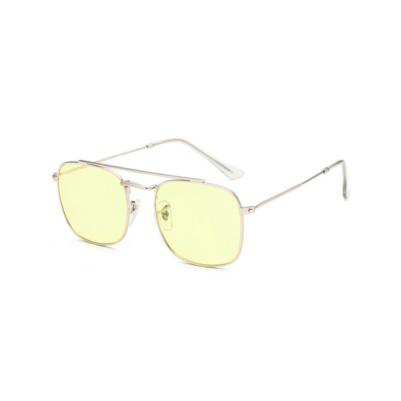 Side view of yellow, small square sunglasses, with tinted lenses