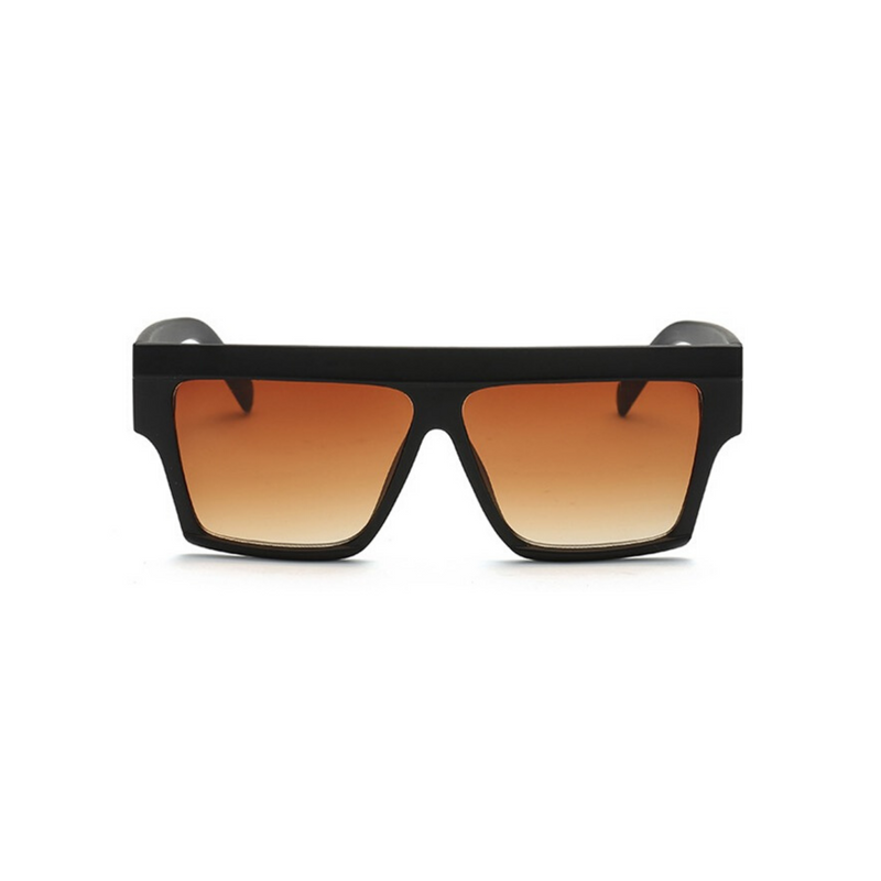 Front view of black, flat square sunglasses, with brown gradient lenses.
