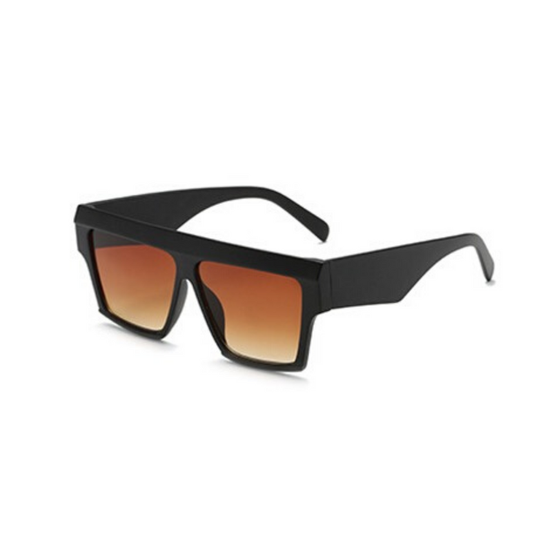 Side view of black, flat square sunglasses, with brown gradient lenses.