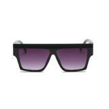 Front view of black, square sunglasses, with black gradient lenses.