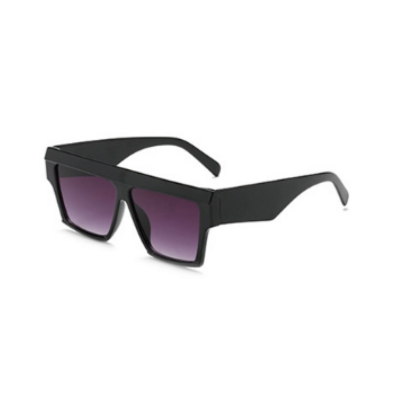 Side view of black, square sunglasses, with black gradient lenses.
