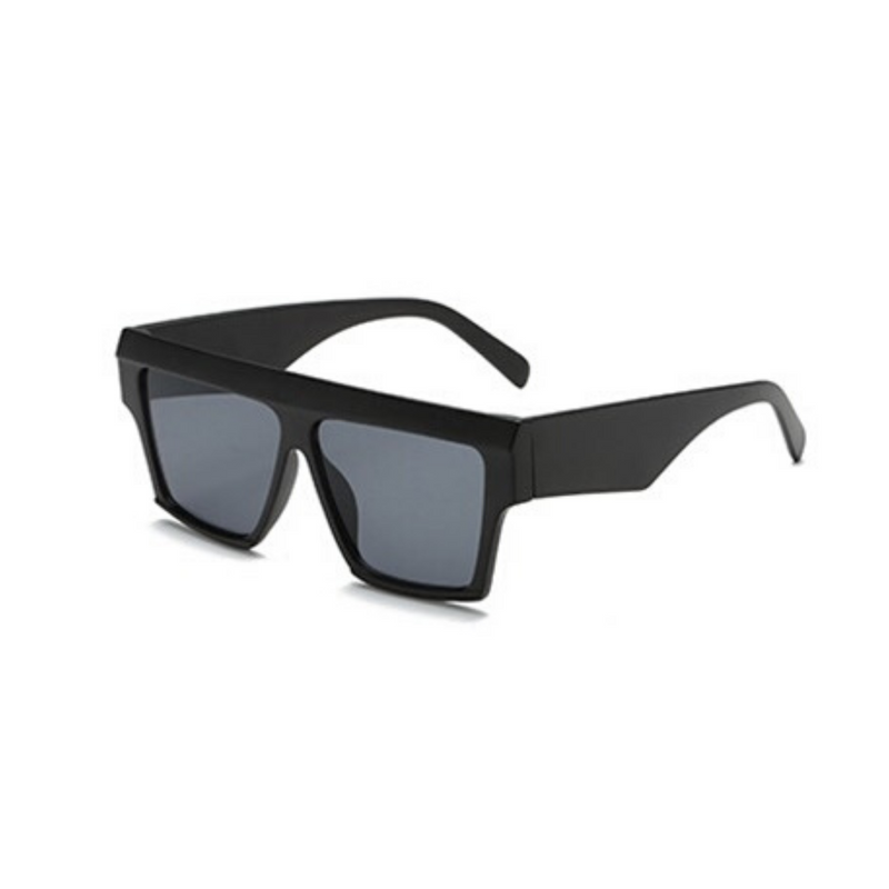 Side view of black, square sunglasses, with dark lenses.