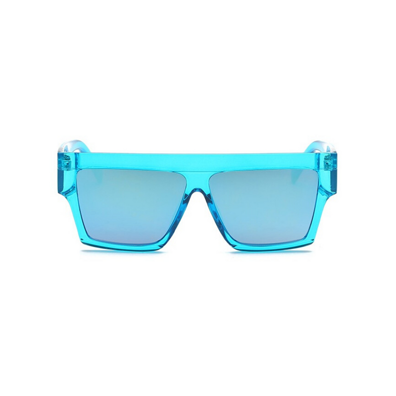 Front view of blue, flat square sunglasses, with mirror lenses.