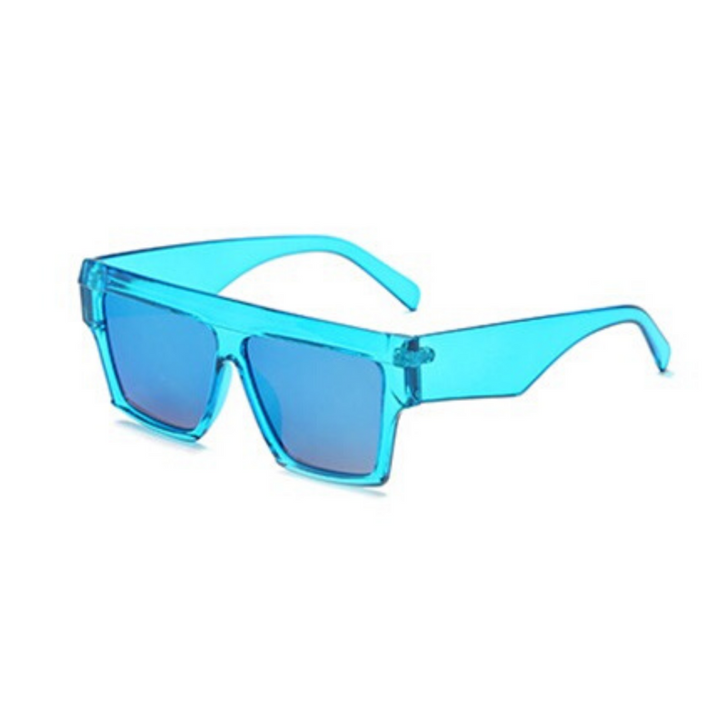 Side view of blue, flat square sunglasses, with mirror lenses.