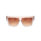 Front view of light brown, flat square sunglasses, with brown gradient lenses.