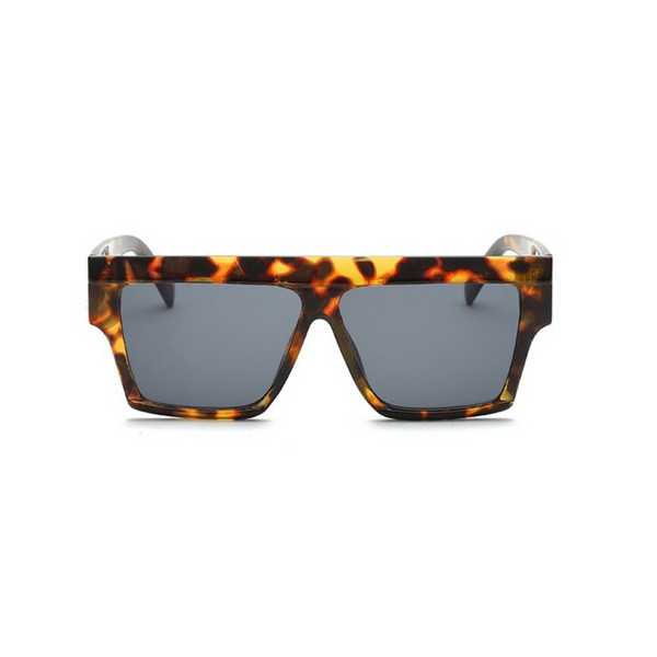 Front view of leopard print, square sunglasses, with dark lenses.