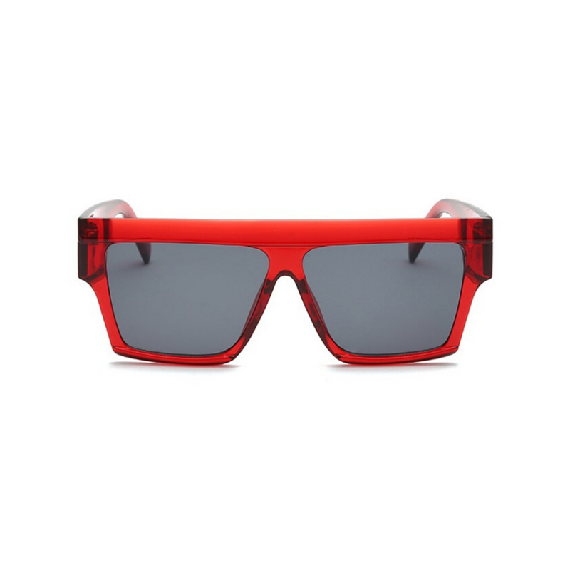 Front view of red, flat square sunglasses, with dark lenses.