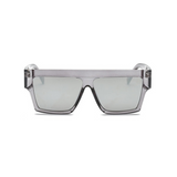 Front view of silver, flat square sunglasses, with mirror lenses.