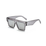 Side view of silver, flat square sunglasses, with mirror lenses.