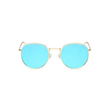 Front view of blue, small circle sunglasses, with mirrored lenses.