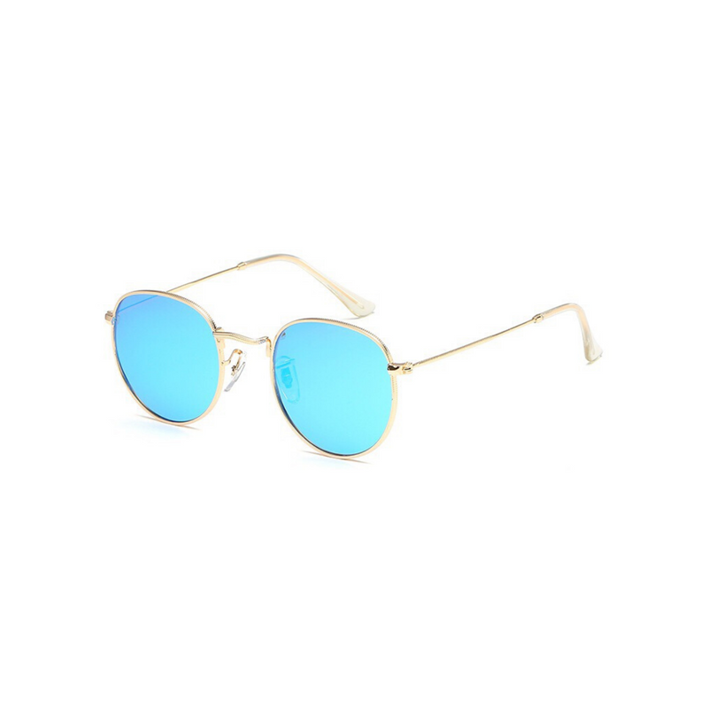 Side view of blue, small circle sunglasses, with mirrored lenses.