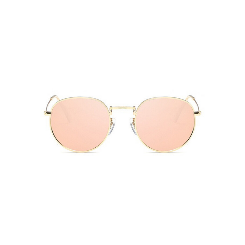 Front view of pink, small circle sunglasses, with mirror lenses.