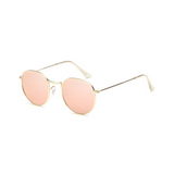 Side view of pink, small circle sunglasses, with mirror lenses.