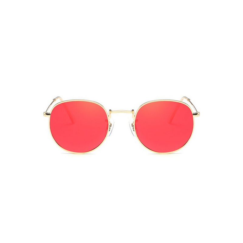 Front view of red, small circle sunglasses, with mirror lenses.